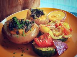 Stuffed Potatos & Sauteed Vegetables