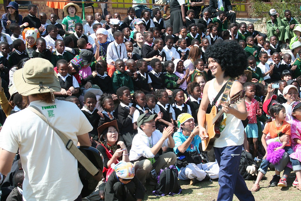 Members of Funkist rocking away at Swartkop Elementary School