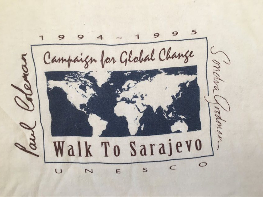 Campaign For Global Change T Shirt Sponsorship For Earthwalker Paul Coleman Walk To Sarajevo