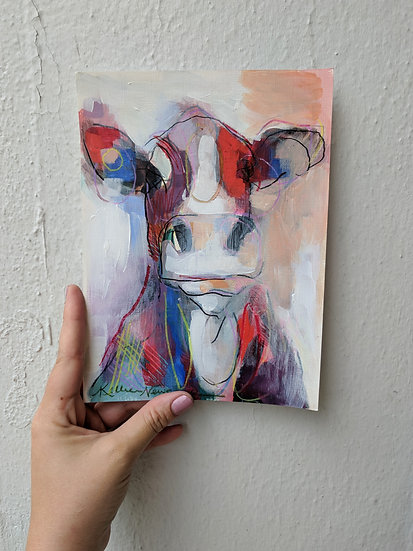 Cow Study on Paper in Red and Blue