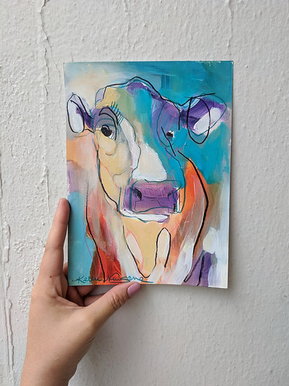Cow Study on Paper in Orange and Blue