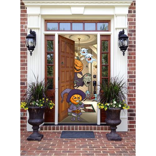 """Pumpkin Front Door: Pumpkin Heads - Front Door Kit (36""""W X 80""""H)"""