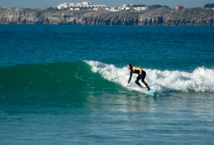 Tessa our designer surfing