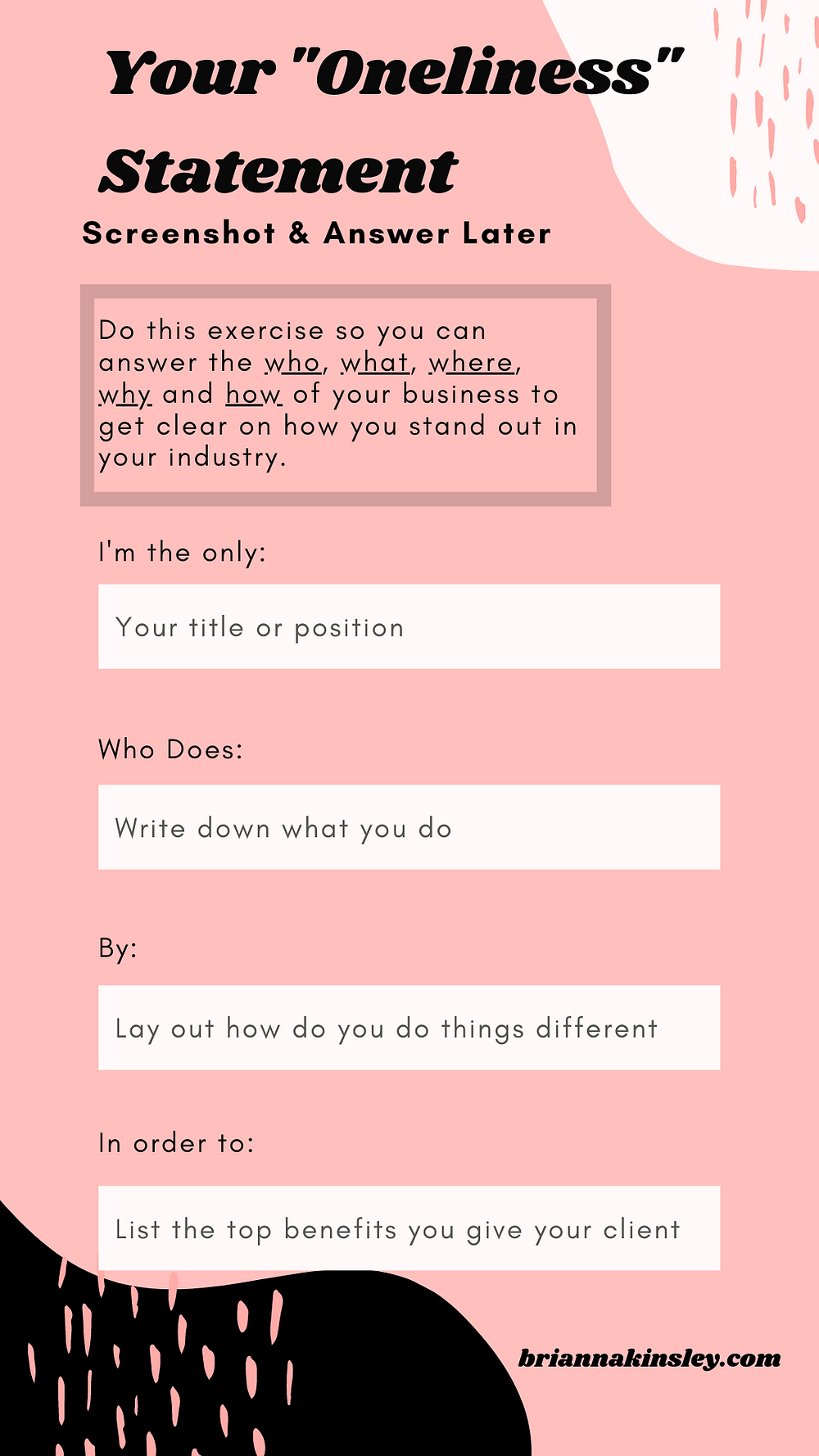 Oneliness Statement Template By Brianna Kinsley Photography
