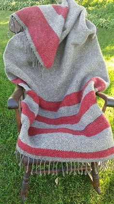 Red Striped Wool Throw Blanket WB11 SO