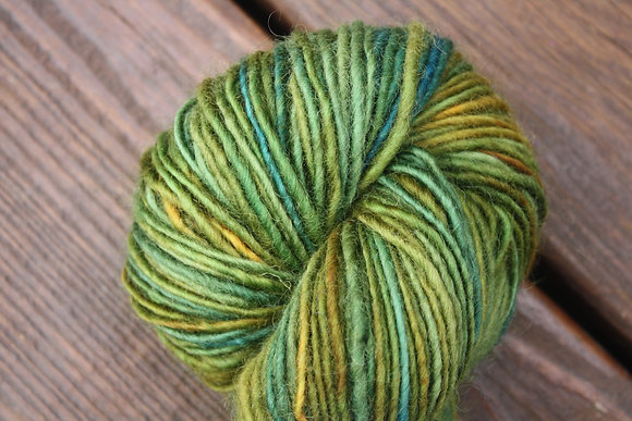 Variegated Green Handspun Wool Yarn