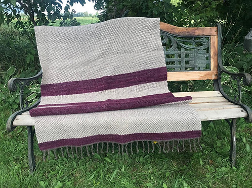 PLUM & CREAM THROW WOOL BLANKET
