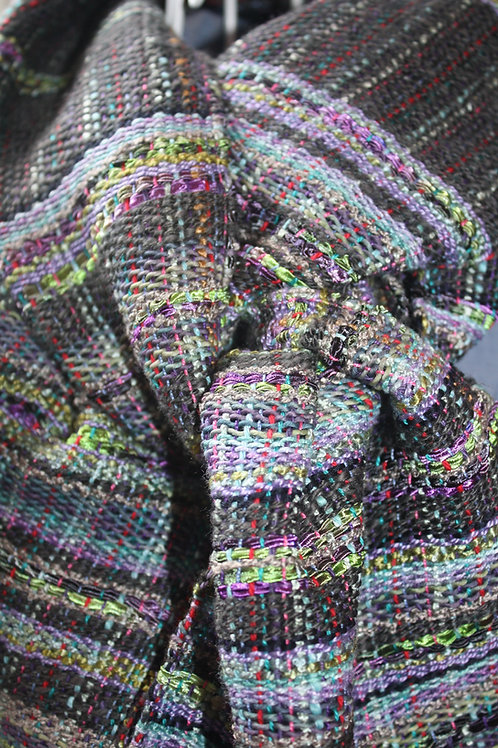 Handwoven Ella #E106 Dark Gray with Green and Purple  Cotton Silk Linen