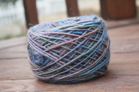 Variegated Deep Mauve Handspun Wool Yarn