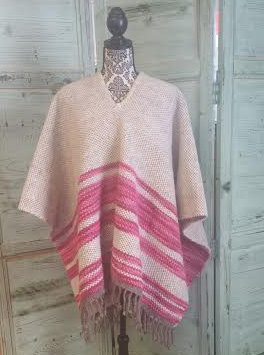 Pink Striped Wool Poncho WP04