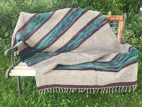 BLUE GREEN, PLUM, & GRAY WOOL TWIN BLANKET
