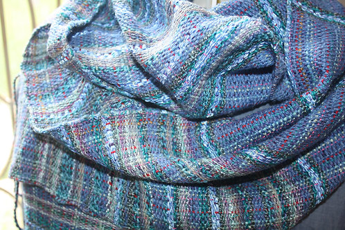 Handwoven Ella #E103 Denim Blue and Teal with Soft Blue Ribbon Cotton Scarf