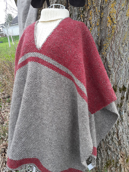 Handwoven Poncho with  V-neck opening.  Natural gray and cranberry.