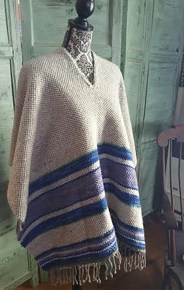 Variegated Blue Striped Wool Poncho SO