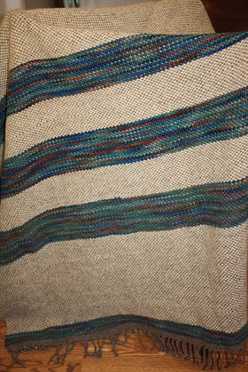 Variegated Blue Striped Wool Twin Blanket WB07 SO