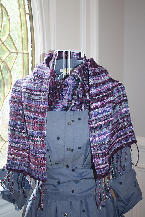Handwoven Ella #E102 Dark Purple Cotton Silk Linen Artisan Scarf - Made
