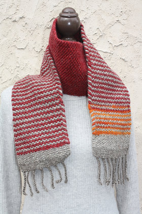 Ruby Striped Wool Scarf WBS04