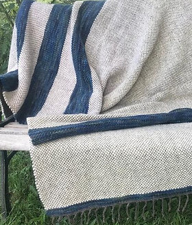 BLUE GREEN TWIN WOOL BLANKET