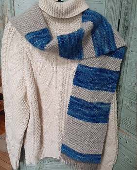 SEA BLUE & CREAM WOOL SCARF