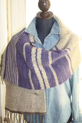 Violet Stripe Wool Shawl WS01