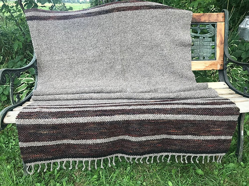 NATURAL GRAY & CHESTNUT RED WOOL BLANKET