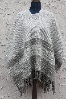 Gray Striped Wool Poncho SO