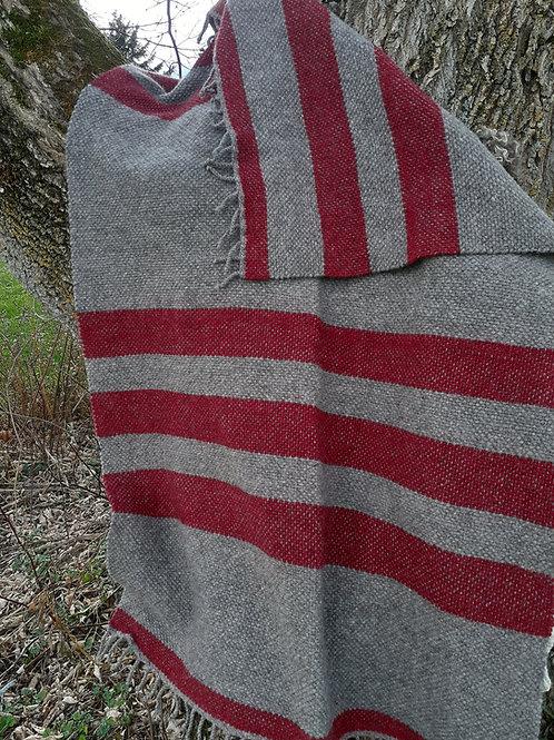 Handwoven 100% Coopworth Wool Love Seat Blanket, Natural Gray & Cranberry