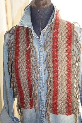 Ruby Stripe Fringe Wool Scarf WBS06