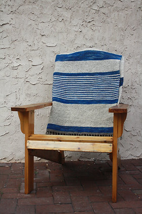 Variegated Sky Blue Striped Wool Twin Blanket SO
