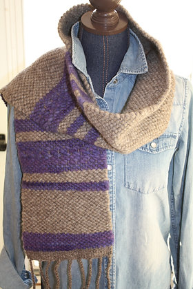 Violet Stripe Wool Scarf WBS01