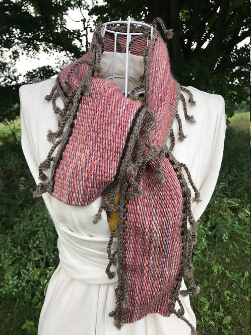 Pink and Gray Fringe Wool Scarf 52""