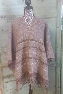 Brown Striped Wool Poncho WP05
