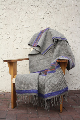 Violet Striped Wool Throw Blanket WB03 SO