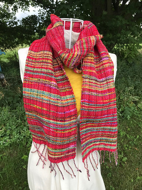 """Handwoven 72""""x 9"""" Ella#E115 Variegated red and yellow with madras cotton, scarf"""