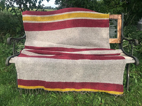 CRANBERRY, GRAY, & YELLOW TWIN WOOL BLANKET