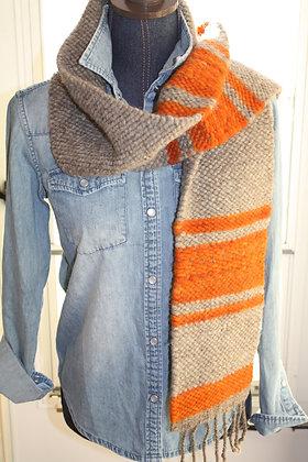 Orange Stripe Wool Scarf WBS05