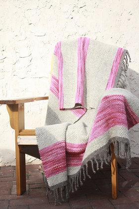 Pretty Pink Striped Wool Twin Blanket WB04 SO