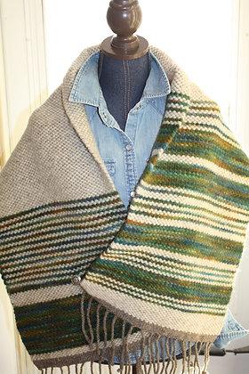 Olive Green Stripe Wool Shawl WS02