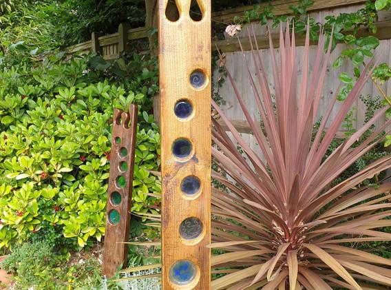 Garden obelisk, glass and wood