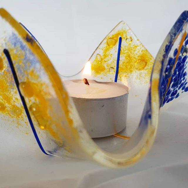 Tealight holder made from fused glass