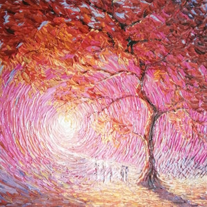 """Light of Life"" Palette knife painting"