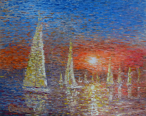 Sail boat impressionism abstract painting