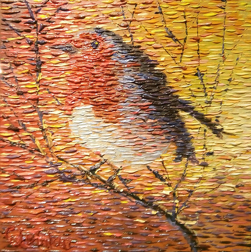 impressionist robin oil painting by Irish artist Chris Quinlan