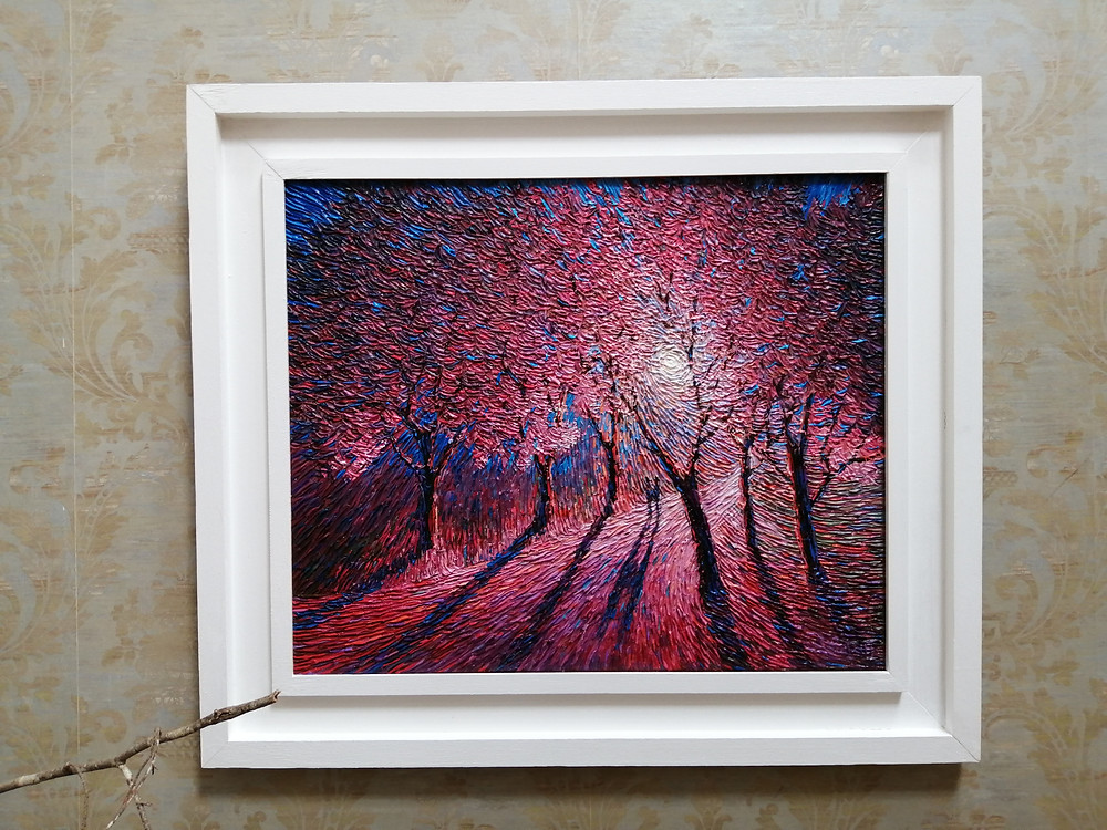Blossoming painting in The Loft Cafe in Birr, Co. Offaly, Ireland