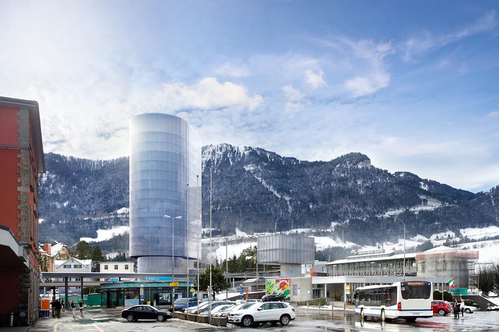 Rigi Bahnen Hochhaus in Goldau - 01