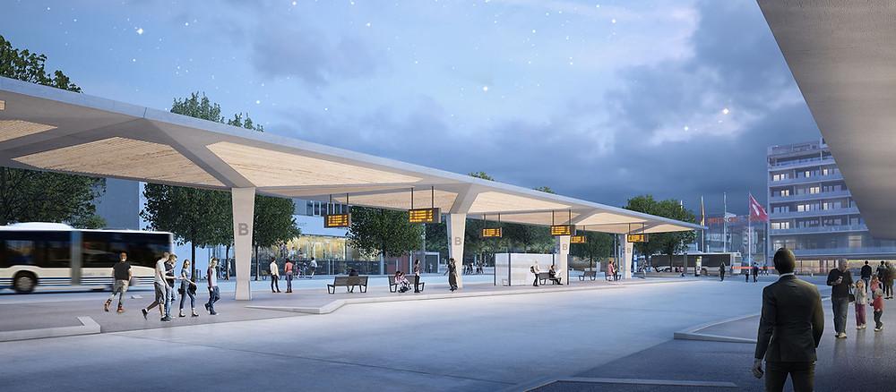 Visualisierung Bahnhof Wil - Dachkonstruktion