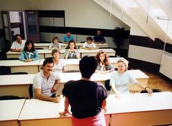 Oktatóterem az előadói asztal felől