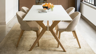 Casual elegance table & dining chairs