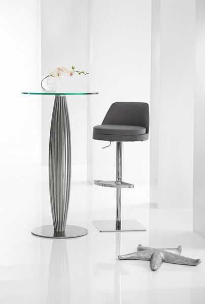 Brushed Stainless Steel & Glass Bar Table & Stools