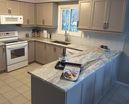 After Picture - Painted Cabinetry & New Countertop